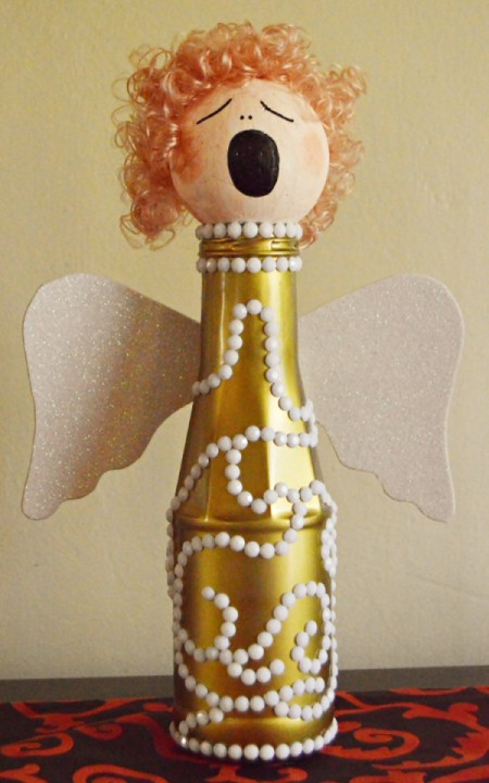 White and Gold Upcycled Bottle Christmas Angel
