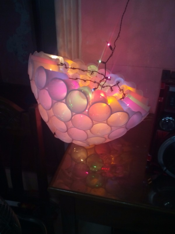 Making a plastic cup christmas chandelier thriftyfun making a disposable cup christmas chandelier aloadofball Choice Image