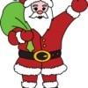 Santa waving holding a bag of gifts.