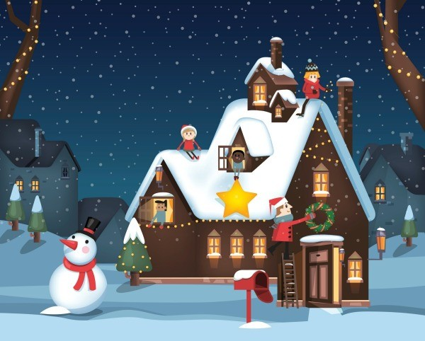 illustration of a house at christmas ideas for a parade float - Christmas Float Decorations