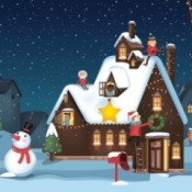 Illustration of a house at Christmas.