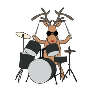 A reindeer playing drums.