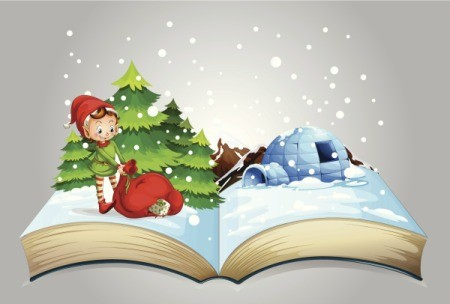 Illustration of a Christmas book.