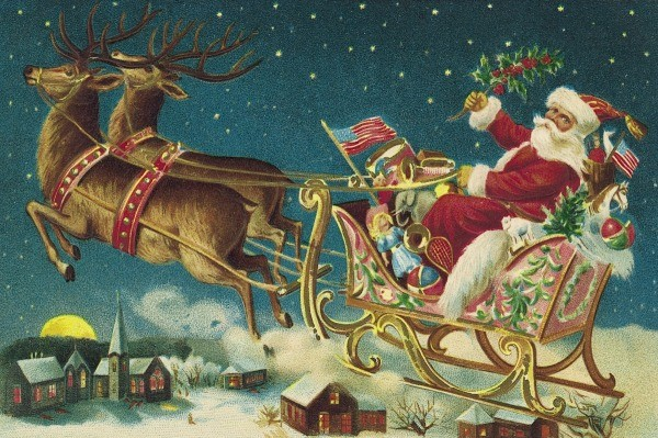 an old fashioned christmas illustration of santa in his sleigh