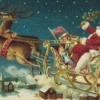 An old fashioned Christmas illustration of Santa in his sleigh.