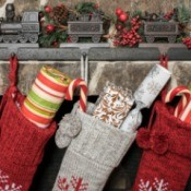 Stockings hung on a fireplace mantle.