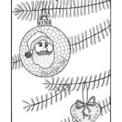 An adult coloring page of tree branches with a heart shaped ornament and a globe with Santa's image.