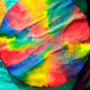 Coffee filter with tie dye color pattern.