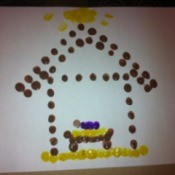 Baby Jesus in Manger Fingerprint Craft
