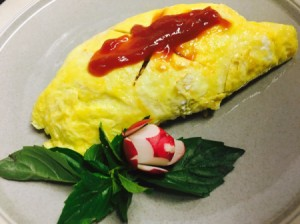 Omurice on plate.