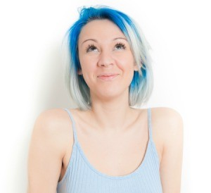 A girl with blue and silver dyed hair.