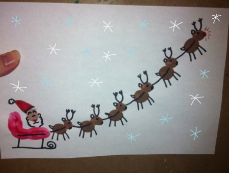 sleigh with hand drawn snowflakes