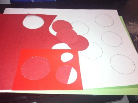 red and white construction paper circles for second candy cane craft