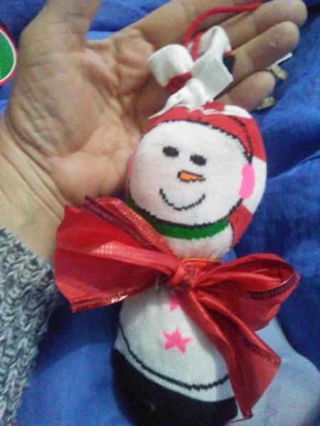 closeup of snowman sock ornament