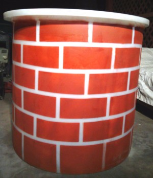 finished brick look fireplace prop
