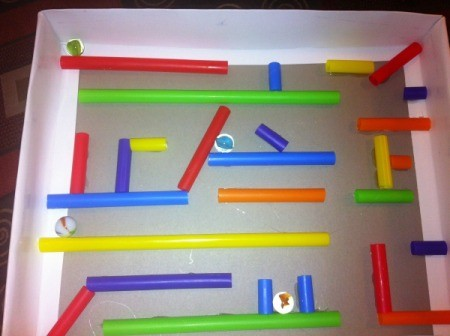Easy Marble Maze - completed larger maze with marbles
