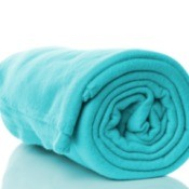 A green-blue fleece blanket.