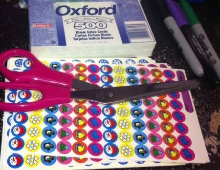 Christmas Sticker Memory Game - supplies