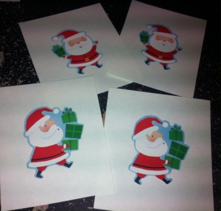 Christmas Sticker Memory Game - Christmas stickers on the index cards