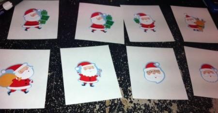 Christmas Santa sticker game cards