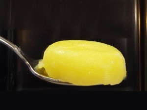 The finished lump of clarified butter.