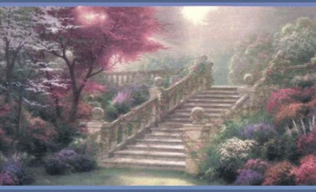 Thomas Kinked Wallpaper. A staircase in a garden.