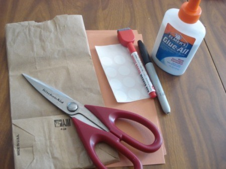 Supplies for reindeer paper bag.