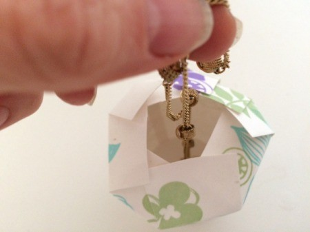 Paper Cup Gift Box - adding a piece of jewelry to the gift box