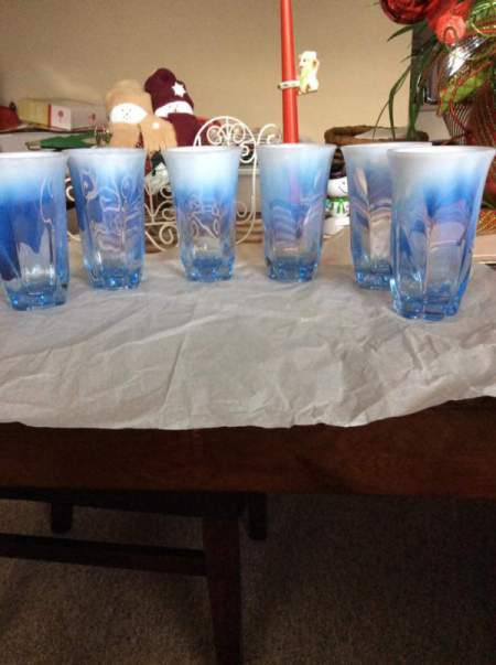 Identifying Vintage Drinking Glasses - marbled clear, white, and blue glasses