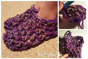 Three Strand Thick Crocheted Slippers