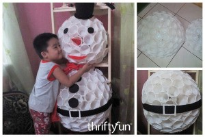 Snowman With Plastic Cups