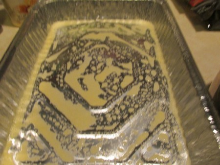 Alfredo Spinach Lasagna - butter in foil pan.