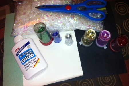 Glitter and Glue Icicles - supplies