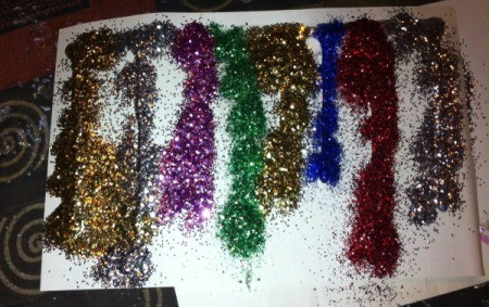 Glitter and Glue Icicles - multiple colors of glitter on the glue