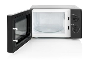 A microwave oven with a glass turntable tray.