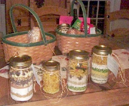 Jars of Friendship Soup Mix, tied with raffia and a card with instructions.