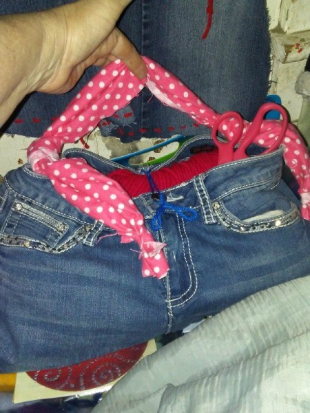 Blue Jeans Bag for Holding Yarn - recycled jeans storage bag