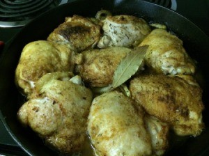 finished chicken in pan
