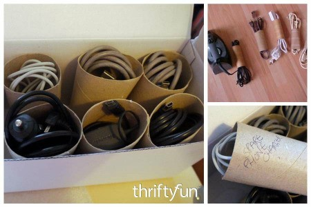 Toilet Paper Tubes for Organizing Electrical Cords