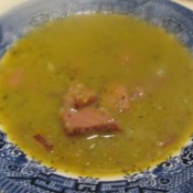Ham and Green Split Pea Soup in bowl.