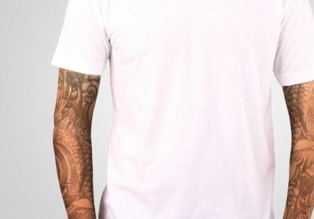 A man wearing a white t-shirt.
