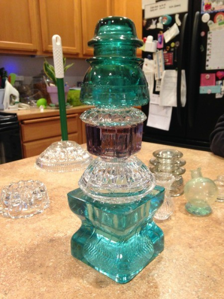 Thriftstore Glass Garden Tower - finished tower sitting on kitchen island