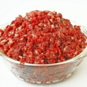 Mixing Ground Meat With Venison - glass bowl with filled with minced venison