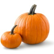 Two pumpkins, one small and one large.
