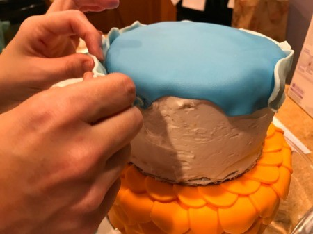 'Sharky' Goldfish Birthday Cake - cover the top of the smaller cake with a piece of dark blue fondant