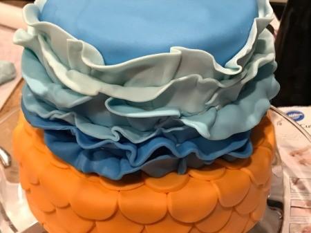 'Sharky' Goldfish Birthday Cake - 6 rows of ruffles added