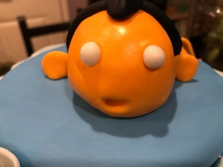 'Sharky' Goldfish Birthday Cake - roll two small white fondant balls for the eyes