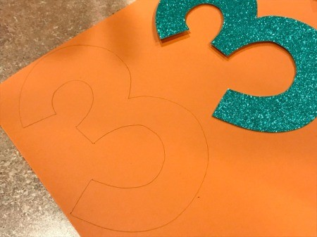 'Sharky' Goldfish Paper Lantern Decoration - making back side of three by tracing onto orange paper
