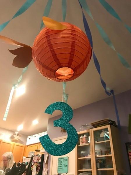 'Sharky' Goldfish Paper Lantern Decoration - finished shark goldfish with number 3 suspended from bottom of lantern