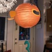 'Sharky' Goldfish Paper Lantern Decoration - finished lantern hanging